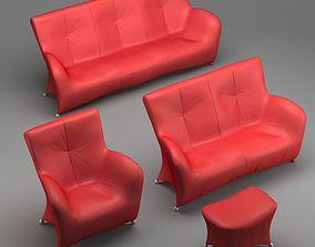 Sofa Set chrome 3D model