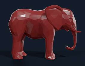 Low Poly Elephant 3D asset VR / AR ready