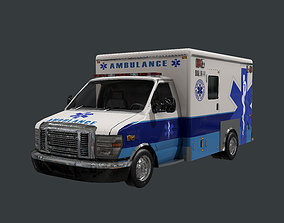 3D model Vehicle Ambulance Rescue Truck Game Ready 02
