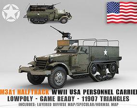 Low Poly M3A1 Half-track Personnel 3D asset