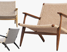 walnut 3D model CH25 Lounge Chair 4 options