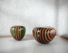 Modern Wooden Chair-Ottoman 3D model
