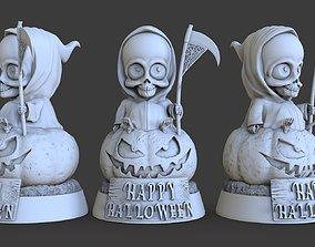 Halloween death on a pumpkin 3D print model