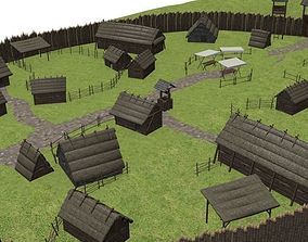Early medieval castle 3D model game-ready