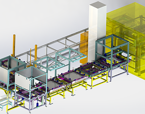Car sunroof assembly line 3D model