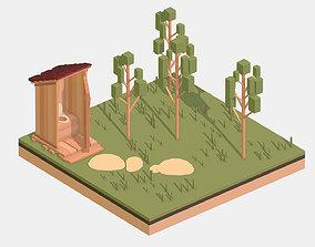 Isometric Village Wood WC street Toilet 3D asset