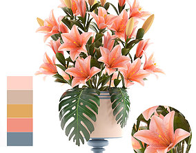 3D model lily bouquet of pink lilies