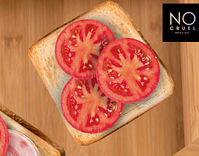 3D asset Toast with tomatoes mesh
