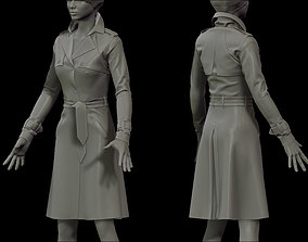 3D Female Trench Coat for Marvelous Designer