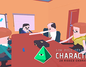 3D asset rigged Low Poly Office Characters Pack