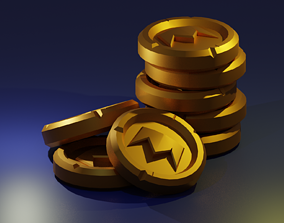 3D model low-poly Gold coin
