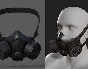 3D model Gas mask helmet futuristic technology protection
