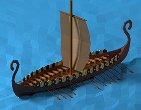 3D model Low poly Viking Ship