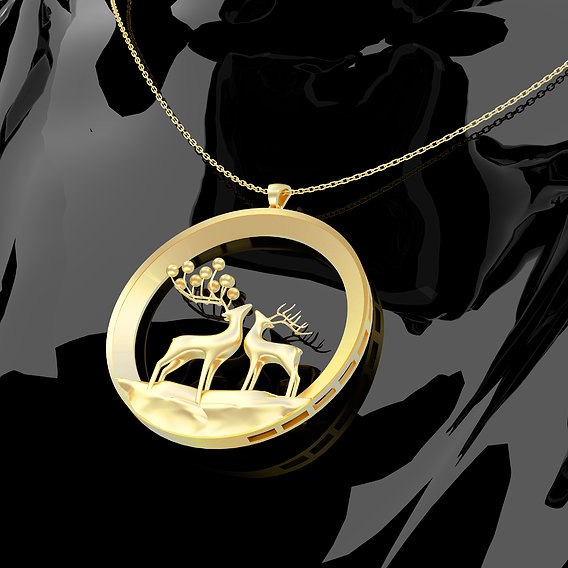Deer Family Pendant 3D Print Model