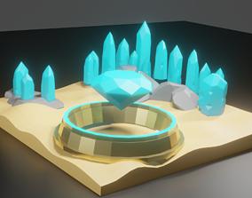 A simple crystal desert 3D asset