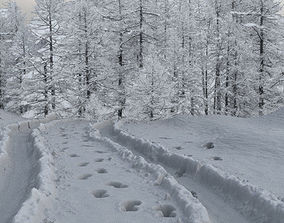 3D Ground covered with snow