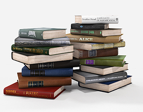 3D model low-poly pile of books