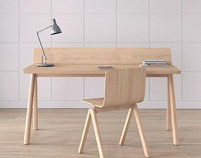 Work Desk Scandinavian Brown 3D model
