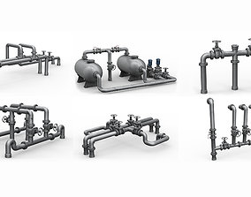 Industrial pipes assembly pack 3D model game-ready