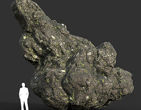 Low poly Damaged Lichen Rock 15 190907 3D asset
