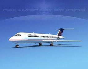 Douglas DC-9-30 Continental 3D
