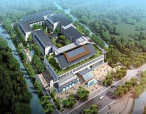 Chinese architecture Construction Villa area building 3D