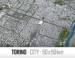 Torino - city and surroundings 3D asset game-ready