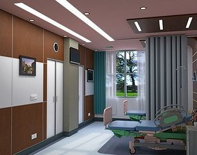 care 3D model 2-Bed Hospital Room Interior