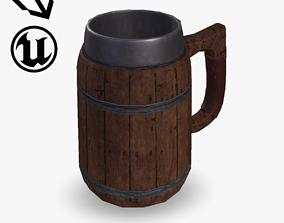 Fantasy Wooden Beer Mug 3D model realtime