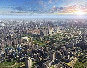 dusk scene of city 3D asset VR / AR ready