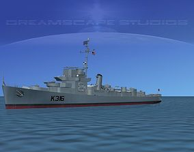 UK Captains Class Frigate HMAV Drury 3D model
