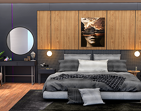 interior 3D asset low-poly bedroom