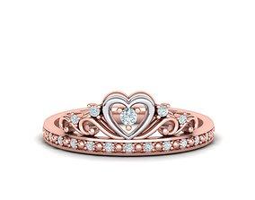 Queens Crown ring 0052 3D print model diamond-ring