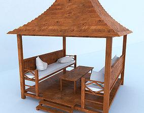 cushion 3D model Wooden Pergola