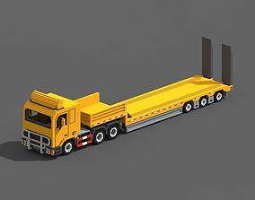 3D asset Voxel Truck And Loader Trailer