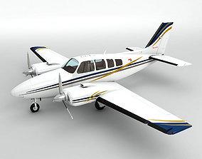 3D model Beechcraft Baron 58 Aircraft
