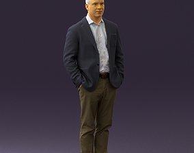 3D model Man inblue jacket brown pants 0410