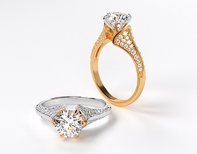 fashion engagement two tone ring with 7mm 3D print model 2