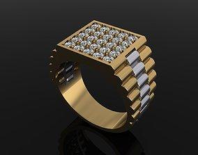 Signet Diamond Cluster Rolex Link Two 3D print model 2