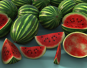 Watermelon 3D asset game-ready PBR