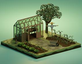Vegetable garden - Lowpoly 3D asset
