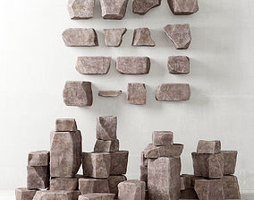 Rock stone collection 3D model wall
