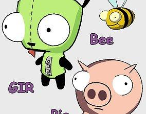Invader Zim - Gir Pig Bee 3D model