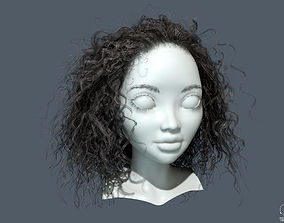 3D asset PBR Curly realtime hair