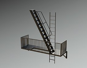 3D model Fire Escape New York City Stairs Balcony NYC