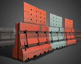game-ready 3D Construction Barricades - Game Ready