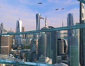 Future city 04 3D model animated