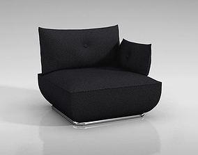 3D Modern Black Cushioned Chair