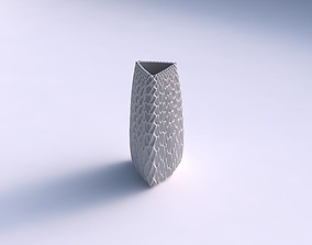 3D printable model Vase triangle with grid piramides 2