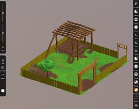 wooden courtyard 3D asset